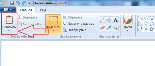 вставить в paint