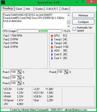 Интерфейс программы SpeedFan