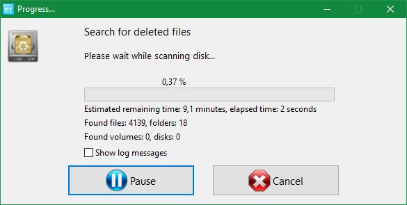 Процесс сканирования диска