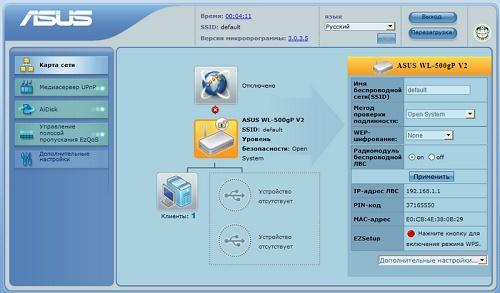 Стартовая страница веб-интерфейса со статистикой