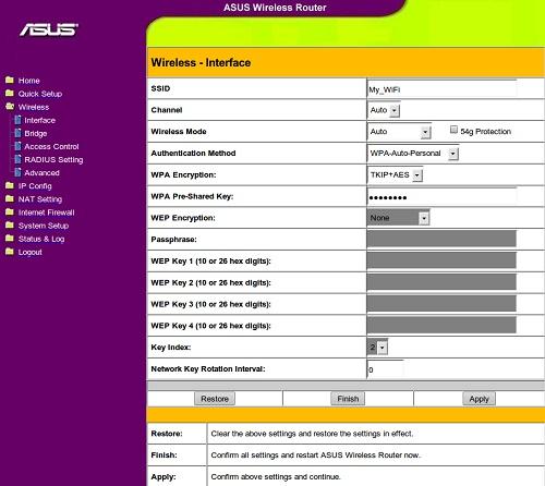 Страница беспроводного интерфейса Asus WL-520GC