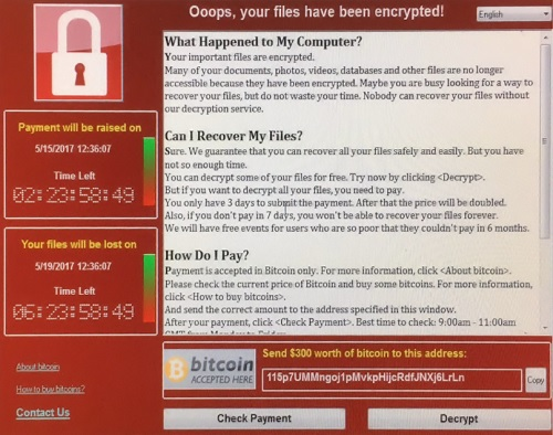 Интерфейс окна блокировки WannaCry
