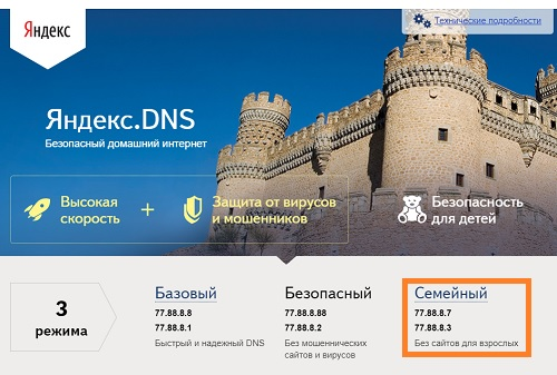 Доступные серверы Яндекс.DNS