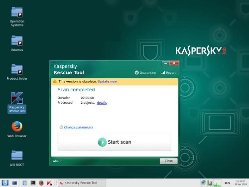 Интерфейс загрузочного диска Kaspersky