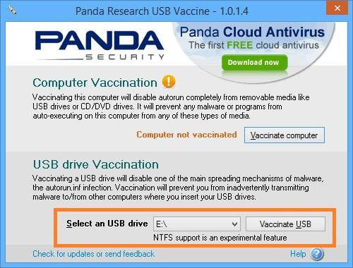 Окно приложения Panda USB Vaccine